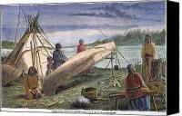 Indian Canoe Canvas Prints - Chippewa: Birchbark Canoe Canvas Print by Granger