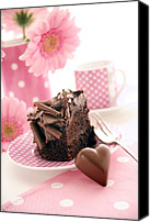 Tea Party Canvas Prints - Chocolate Cake Canvas Print by Erika Craddock