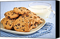 Snack Canvas Prints - Chocolate chip cookies and milk Canvas Print by Elena Elisseeva