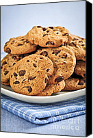 Junk Canvas Prints - Chocolate chip cookies Canvas Print by Elena Elisseeva