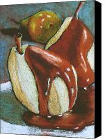 Dessert Drawings Canvas Prints - Chocolate-Covered Pears Canvas Print by Joyce Geleynse