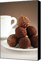 Plate Canvas Prints - Chocolate truffles and coffee Canvas Print by Elena Elisseeva