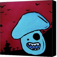 Apocalypse Mixed Media Canvas Prints - Chomping Zombie Mushroom Canvas Print by Jera Sky