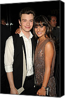 Half-length Canvas Prints - Chris Colfer, Lea Michelle At Arrivals Canvas Print by Everett