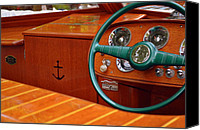 Motor Boats Canvas Prints - Chris Craft Cockpit Canvas Print by Michelle Calkins