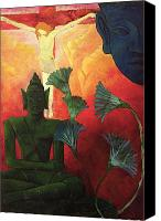 Buddhist Canvas Prints - Christ and Buddha Canvas Print by Paul Ranson