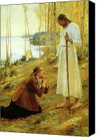 Magdalene Canvas Prints - Christ and Mary Magdalene  Canvas Print by Albert Edelfelt