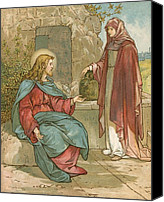 Talking Canvas Prints - Christ and The Woman of Samaria Canvas Print by John Lawson