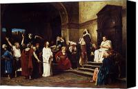 Onlookers Canvas Prints - Christ Before Pilate Canvas Print by Mihaly Munkacsy