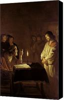 Spectators Canvas Prints - Christ before the High Priest Canvas Print by Gerrit van Honthorst