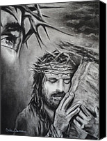 Charcoal Drawing Canvas Prints - Christ Canvas Print by Carla Carson