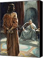 Toga Canvas Prints - Christ in front of Pontius Pilate Canvas Print by Henry Coller