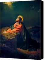 Garden Painting Canvas Prints - Christ In Garden of Gethsemane Canvas Print by Heinrich Hofmann