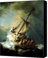 Still Canvas Prints - Christ In The Storm Canvas Print by Rembrandt