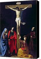 Magdalene Canvas Prints - Christ on the Cross with the Virgin Mary Magdalene St John and St Francis of Paola Canvas Print by Nicolas Tournier