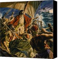 Calming The Storm Canvas Prints - Christ on the Sea of Galilee Canvas Print by Jack Hayes