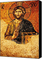 Byzantine Canvas Prints - Christ Pantocrator Canvas Print by Dean Harte