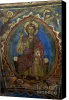 Column Canvas Prints - Christ Pantocrator fresco. Basilica Saint-Julien. Brioude. Haute Loire. Auvergne. France. Canvas Print by Bernard Jaubert