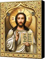 Icon Tapestries - Textiles Canvas Prints - Christ Pantocrator Canvas Print by Stoyanka Ivanova