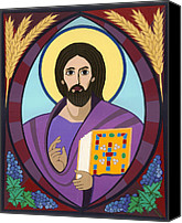 Icon Byzantine Canvas Prints - Christ Pantokrator Icon Canvas Print by David Raber