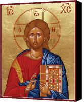 Byzantine Canvas Prints - Christ Pantokrator Canvas Print by Julia Bridget Hayes