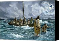 Christian Canvas Prints - Christ walking on the Sea of Galilee Canvas Print by Anonymous