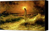 Water Canvas Prints - Christ Walking On The Waters Canvas Print by Christ Images