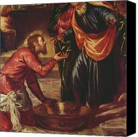 Humble Canvas Prints - Christ Washing the Feet of the Disciples Canvas Print by Tintoretto
