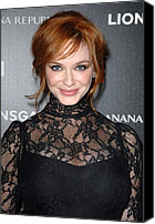Updo Canvas Prints - Christina Hendricks Wearing A Dolce & Canvas Print by Everett