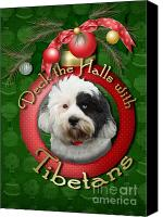 Tibetan Digital Art Canvas Prints - Christmas - Deck the Halls with Tibetans Canvas Print by Renae Frankz