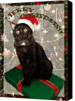 Animal Greeting Card Canvas Prints - Christmas Cat Canvas Print by Adam Romanowicz