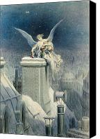 Snowy Night Painting Canvas Prints - Christmas Eve Canvas Print by Gustave Dore