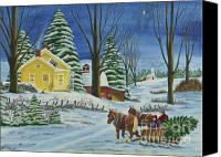 Star Barn Canvas Prints - Christmas Eve In The Country Canvas Print by Charlotte Blanchard