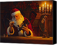 Santa Claus Canvas Prints - Christmas Eve Touch Up Canvas Print by Greg Olsen