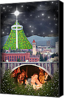 Christian Sacred Digital Art Canvas Prints - Christmas In Spokane Canvas Print by Mark Armstrong