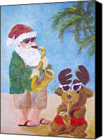 Saxaphone Painting Canvas Prints - Christmas Jazz Canvas Print by Pat Casey