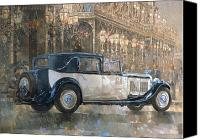 Lamps Painting Canvas Prints - Christmas Lights and 8 litre Bentley Canvas Print by Peter Miller