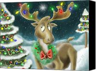 Lights Digital Art Canvas Prints - Christmas Moose Canvas Print by Hank Nunes