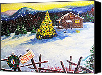 Diane Hewitt Canvas Prints - Christmas Mountain Cabin  Canvas Print by Diane Hewitt