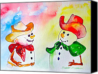 Christmas Cards Painting Canvas Prints - Christmas Partners Canvas Print by Sharon Mick