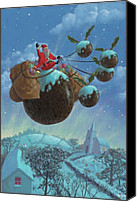 Father Christmas Digital Art Canvas Prints - Christmas Pudding Santa Ride Canvas Print by Martin Davey