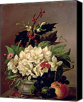 Arrangement Painting Canvas Prints - Christmas Roses Canvas Print by Willem van Leen