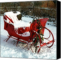 Santa Canvas Prints - Christmas Sleigh Canvas Print by Andrew Fare