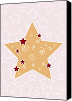 Brown Drawings Canvas Prints - Christmas Star Canvas Print by Frank Tschakert