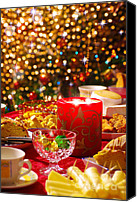 Xmas Canvas Prints - Christmas table set Canvas Print by Carlos Caetano