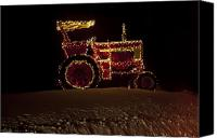 Farm Equipment Canvas Prints - Christmas Tractor   Canvas Print by Ross Powell