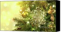 Xmas Canvas Prints - Christmas tree decorations with sparkle background Canvas Print by Sandra Cunningham