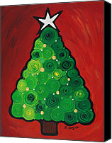 Silver Canvas Prints - Christmas Tree Twinkle Canvas Print by Sharon Cummings