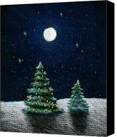 Colored Pencil Canvas Prints - Christmas Trees in the Moonlight Canvas Print by Nancy Mueller