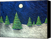 Moonlight Pastels Canvas Prints - Christmas Trees in the Snow Canvas Print by Nancy Mueller